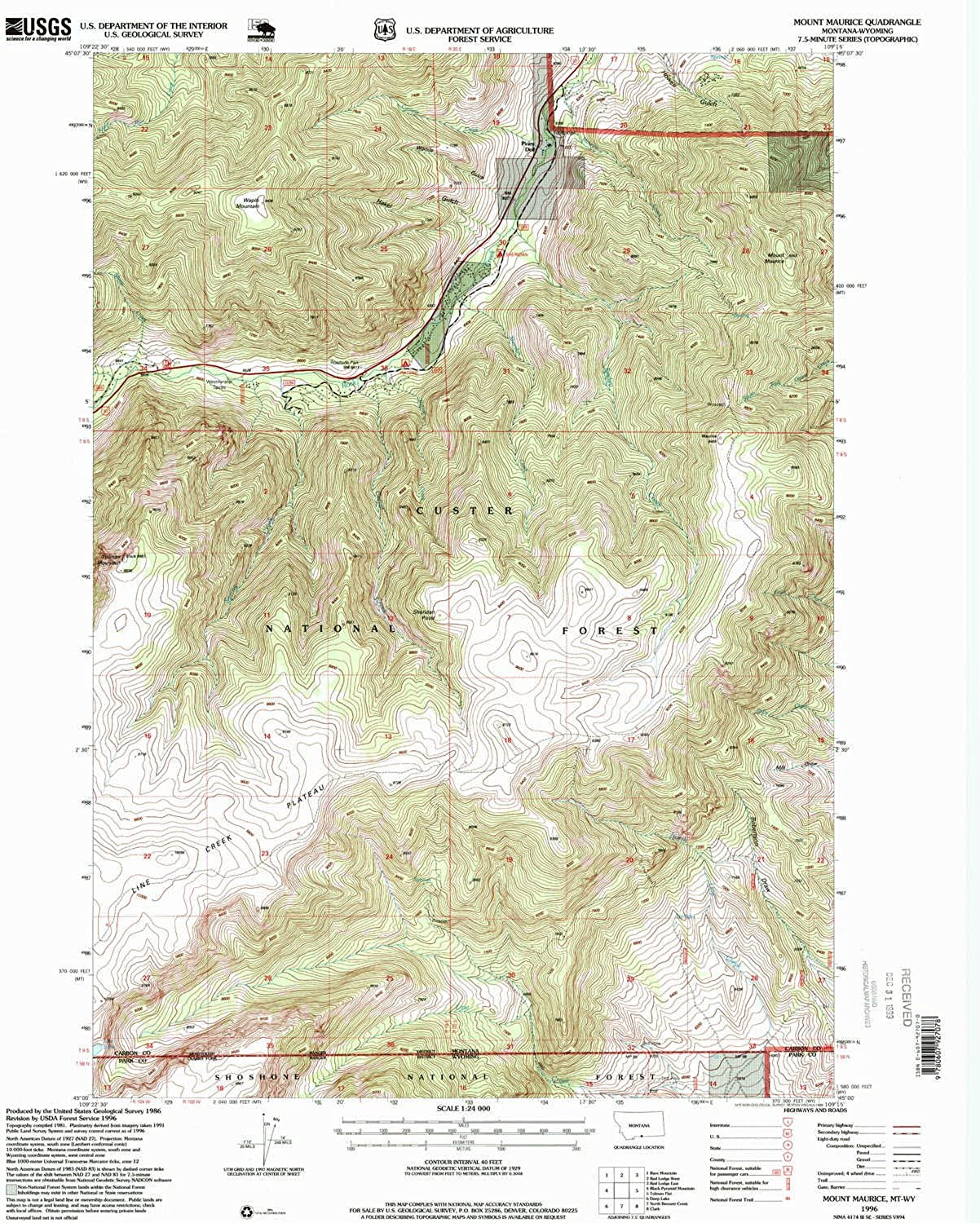 Mount Maurice MT topo map, 1 24000 Scale, 7.5 X 7.5 Minute, Historical, 1996, Updated 1999, 26.7 x 22 in