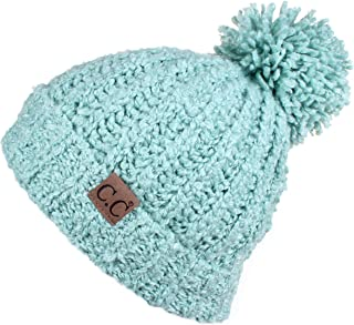 Hatsandscarf CC Exclusives Cable Knit Winter Warm Top Soft Large Pom Pom Cuff Beanie Hat(HAT-7362) (Mint)