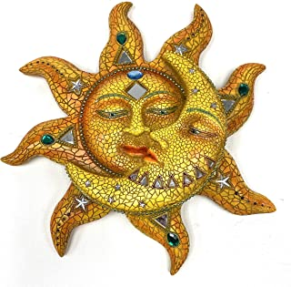 """George S. Chen Imports Polyresin Orange Mosaic Face Sun with Yellow Mosaic Moon, 13"""""""