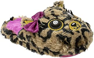 Girls Slippers Leopard Cat Scuff Clog Slip on, Plush, Brown, Indoor Outdoor, Kids Teens and Adults, Size 11 to 5
