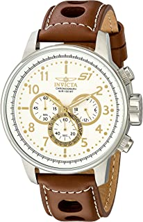 "Invicta Men's 16010 S1""Rally"" Stainless Steel Watch with Brown Leather Band"
