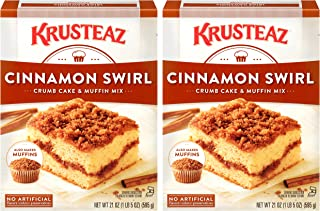 Krusteaz Cinnamon Swirl Crumb Cake & Muffin Mix, Made with No Artificial Flavors, Colors or Preservatives, Also Makes Muff...