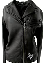 Touch by Alyssa Milano Minnesota Vikings Womens Large Black Faux Leather Front Zip Jacket AVIK 14 L