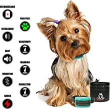 Our K9 Training Made Easy Bark Collar Small Dog - Rechargeable - Sound + Ultrasonic + Vibration + Shock - 7 Levels Adjustment for Sensitivity/Shock/Vibration - 5lbs+…BUY MORE & SAVE MORE