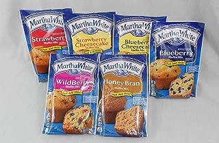 Martha White Muffin Lovers Variety Bundle of 6 Mixes: Wildberry, Strawberry, Strawberry Cheesecake, Blueberry, Blueberry Cheesecake and Honey Bran