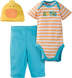 Gerber Baby Girls' 3-Piece Bodysuit, Pant and Cap Set