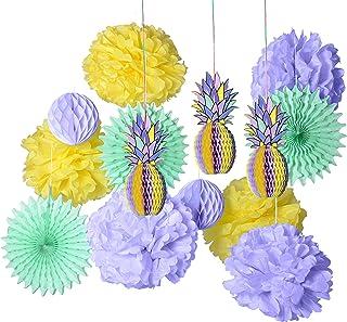 PAPER JAZZ multicolored paper honeycomb pineapple table centerpiece hanging decoration for summer Hawaiian laua tiki beach...