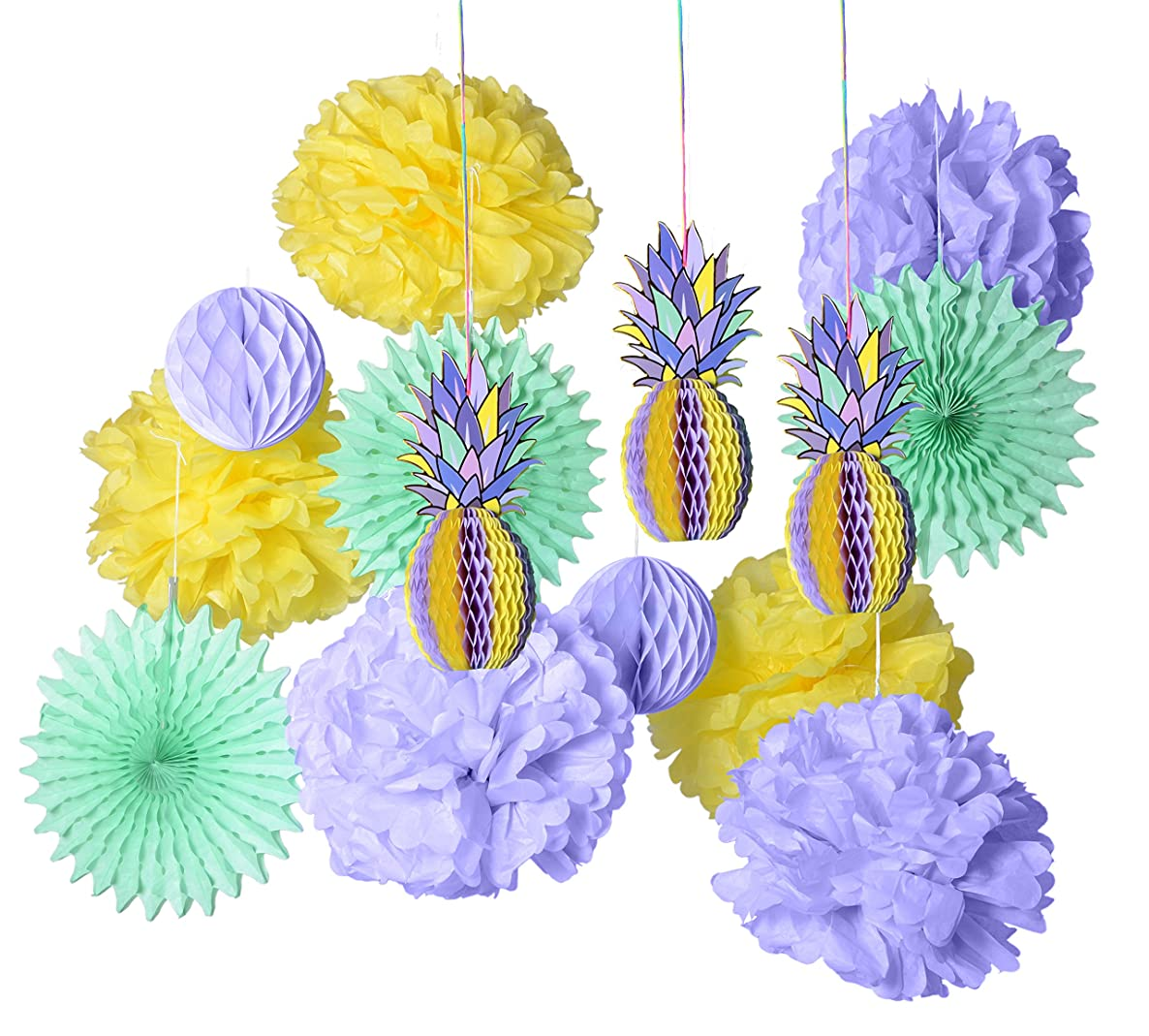 PAPER JAZZ multicolored paper honeycomb pineapple table centerpiece hanging decoration for summer Hawaiian laua tiki beach tropical fruit party (PURPLE SET)