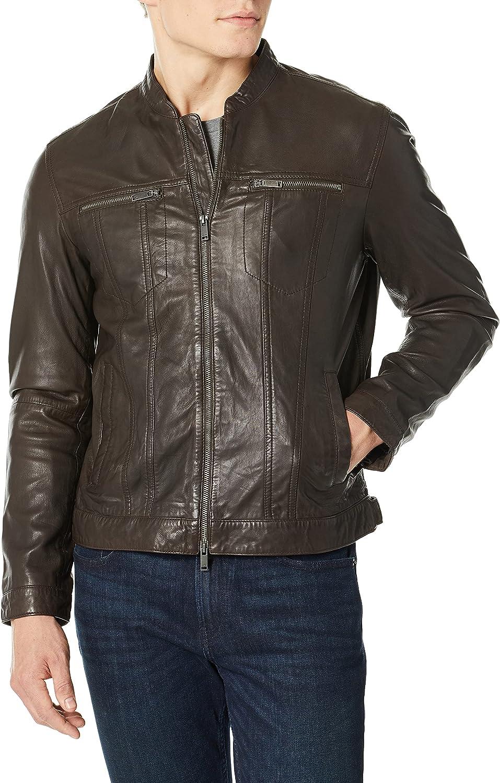 John Varvatos Star USA Men's Band Collar Leather Jacket