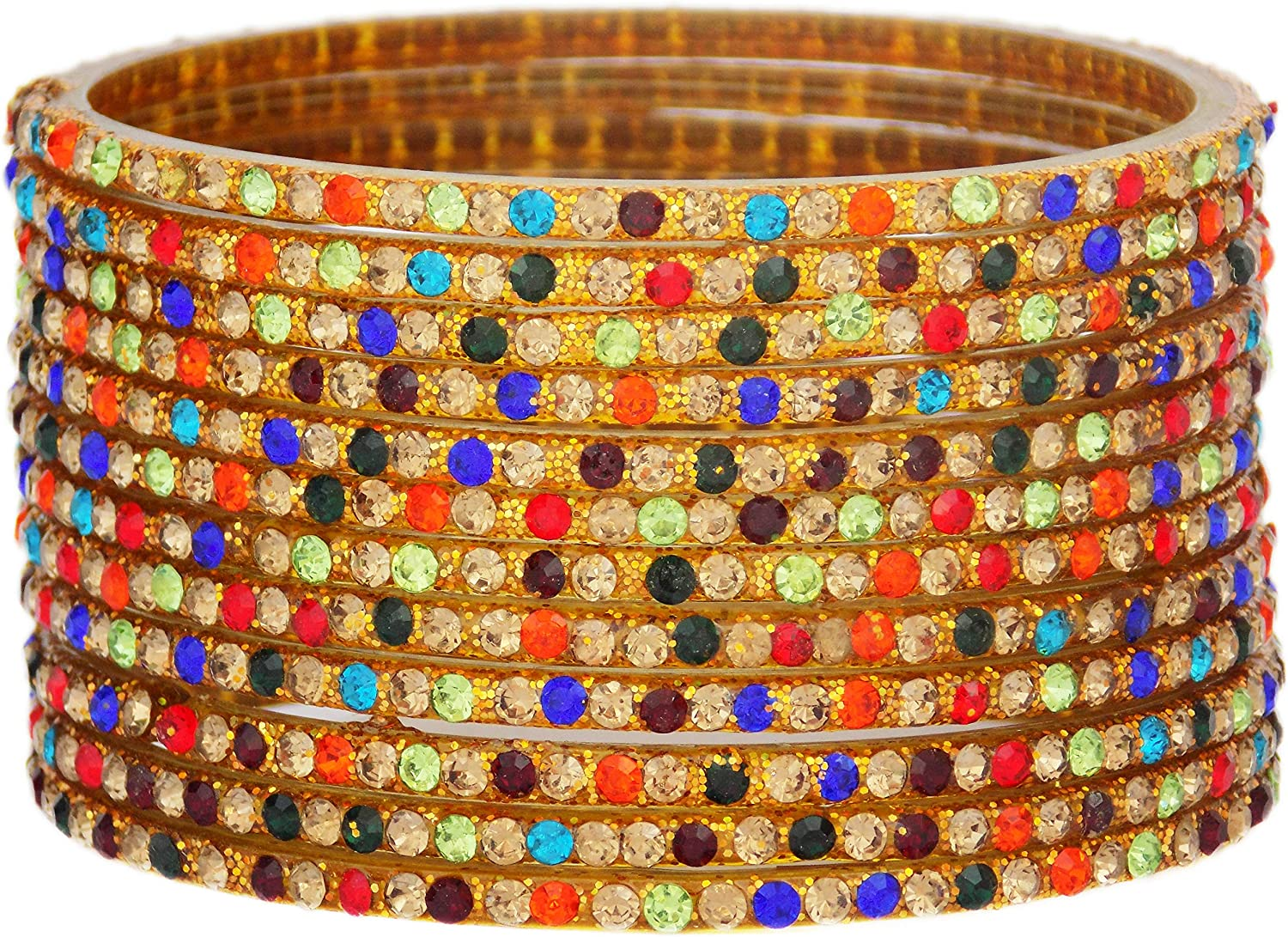 JD'Z COLLECTION Indian Glass Bangles Set Jewelry for Womens & Girls Bollywood Bangles Set Bridal Ethnic Wedding Partywear Costume Match CZ Stone Glass Bangles Set of 12 Multi