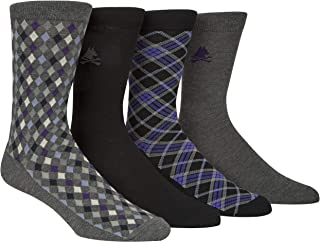 Men's Diamond Tartan Contemporary Crew Dress Socks (4 Pairs), Assorted 96, Shoes Size 7-12