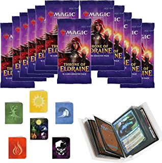 Totem World 12 Throne of Eldraine Booster Packs Magic The Gathering with 6 Mana Lands Mini Binder Collectors Album - Inspired Swamp Plains Forest Mountain Island - MTG ELD Bundle Set