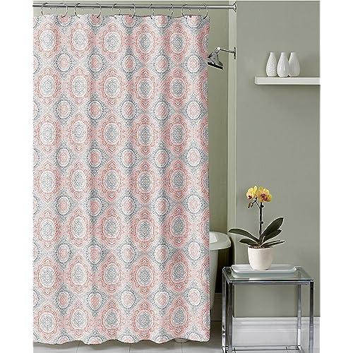 Coral White Grey Fabric Shower Curtain Ornate Medallion Design