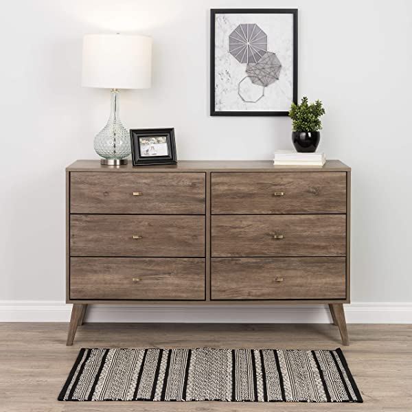 Prepac Milo Mid Century Modern 6 Drawer Double Dresser In Drifted Gray