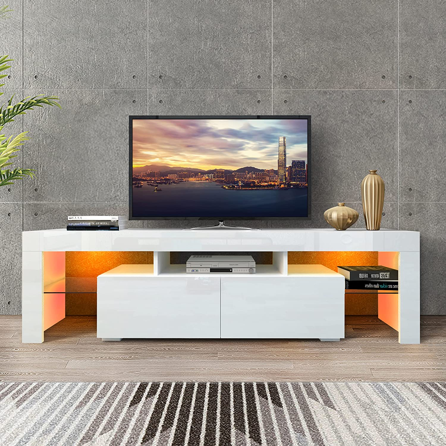 DMAITH TV Stand with LED Lights, 2 Drawers and Open Shelves High Gloss Entertainment Center Media Console Table Storage Desk for Up to 70 Inch TV, White (003W)
