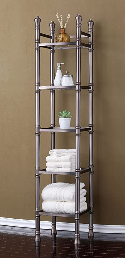 Amazon Com Best Living Monaco 5 Tier Tower Etagere Shelf Brushed Titanium Home Kitchen