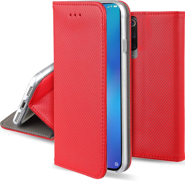 Moozy Funda para Xiaomi Mi 9 SE, Rojo - Flip Cover Smart Magnética con Soporte y Cartera para Tarjetas