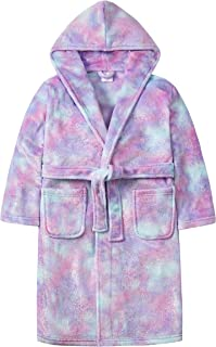 MiniKidz & 4Kidz Girls Mystical Rainbow Glitter Print Plush Fleece Dressing Gown