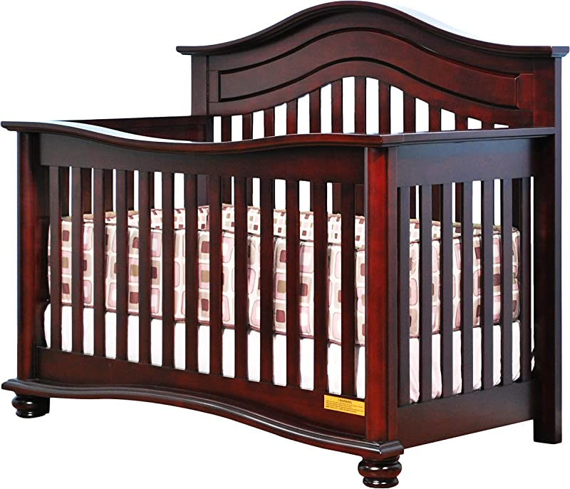 Athena Lia 4 In 1 Convertible Crib With Free Guardrail Cherry