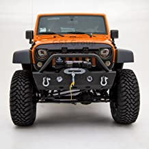 GSI Textured Black Heavy Duty Stubby Rock Crawler Front Bumper with Winch Plate and OE Fog Lights Hole for 07-18 Jeep Wrangler JK