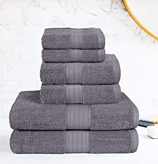 GLAMBURG 6 Piece Towel Set, 100% Combed Cotton - 2 Bath Towels, 2 Hand Towels, 2 Wash Cloths - 600 GSM Luxury Hotel Quality Ultra Soft Highly Absorbent Towel Set for Bathroom - Charcoal Grey