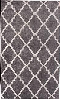 Gray and Ivory Morrocan Trellis Rug 5-Feet by 8-Feet Designer Area Rug