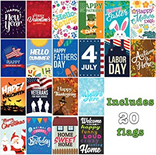 Seasonal Garden Flags Set   20 Pack Assortment of 12-inch x 18-inch Flags   Double-Sided, Polyester, Durable