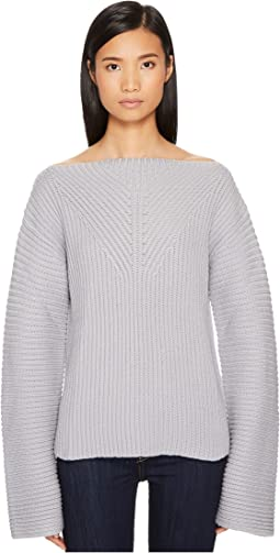 Jil Sander Navy - Wool Boat Neck Long Sleeve Sweater