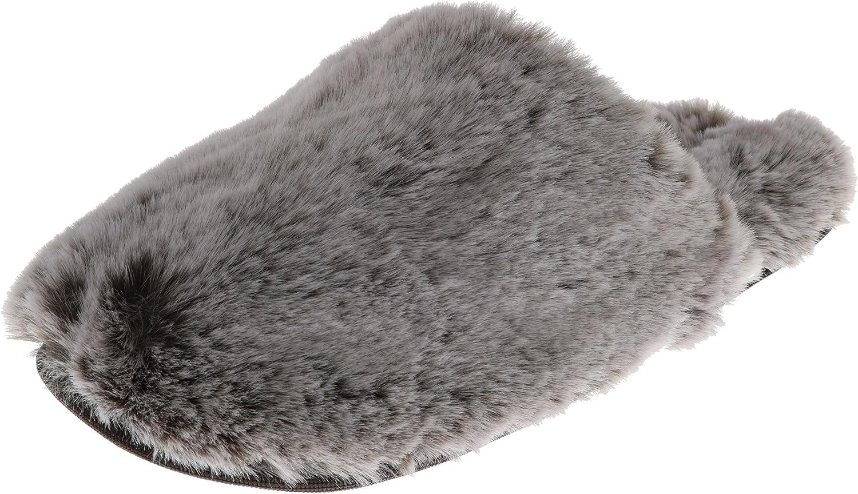 Halston Women's Faux Fur Memory Foam Mule Slippers