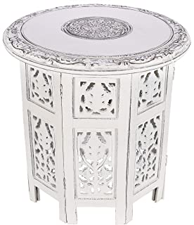 Solid Wood Hand Carved Accent Table, Side Table, entryway Table, Wooden end Table, Bedside Table, Octagonal Wooden Table - 18 Inch Round Top x 18 Inch High - Antique White