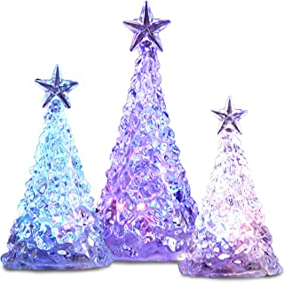 FAO Schwarz Color Changing LED Acrylic Holiday Christmas Tree 3-Piece Set, Battery Operated and Portable for Dining Table Centerpieces, Mantle and Window Decorations, Home and Office Accent