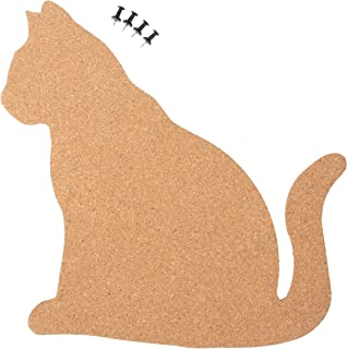 Cat Shaped Corkboard Bulletin Pin Board for Photos, Memos, to-Do List, Wall, Home Decor, 4 Push Pins Included, 11.5 x 11 Inches