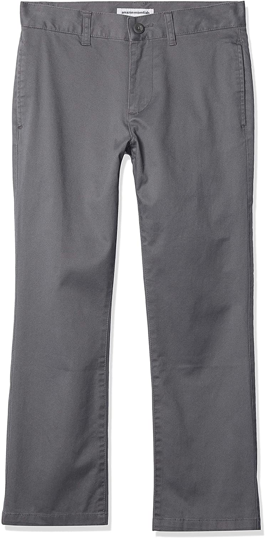 Amazon Essentials Boys' Uniform Straight-fit Flat-Front Chino Khaki Pants
