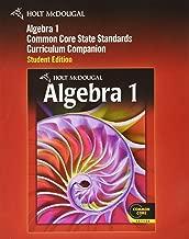 Holt McDougal Algebra 1: Common Core Curriculum Companion Student Edition 2012
