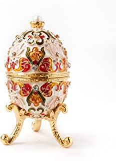 Apropos Hand-Painted Vintage Style Faberge Egg with Rich Enamel and Sparkling Rhinestones Jewelry Trinket Box (White)