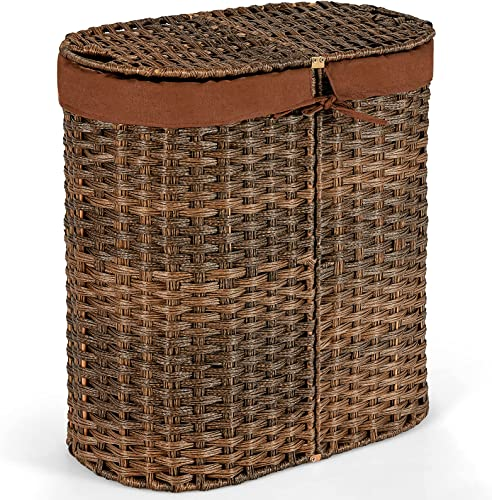 new arrival Giantex Double Laundry Hamper with Lid, Oval Laundry Basket with 2 Removable Liner Bags, Portable outlet online sale Handwoven Clothes Sorter Bin for outlet sale Living Room Bedroom Laundry (Brown) outlet online sale