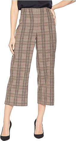 Feminine Glen Plaid Straight Leg Pants