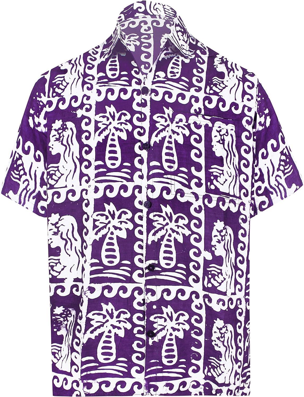 LA LEELA Men's Funky Casual Popular standard Short Sleeve Hawaiian Max 62% OFF A Aloha Shirt