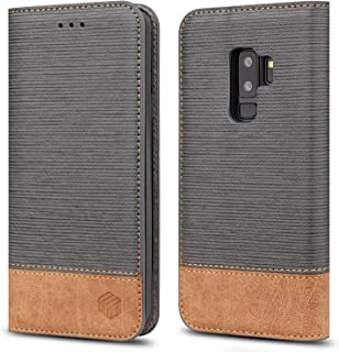 for Galaxy S9 Plus Case,WenBelle [Blazers Series] Stand Feature,Double Layer Shock Absorbing Premium Soft PU Color Matching Leather Wallet Cover Flip Cases for Samsung Galaxy S9 Plus (Grey)