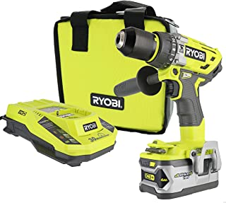 Ryobi P1813 One+ 18V Lithium Ion 750 Inch Pound Cordless Hammer Drill Power Tool Kit (Includes Battery Charger and Bag)