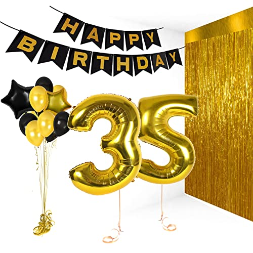 Treasures Gifted Happy Birthday 35th Party Decorations 12 Inch Latex Balloons Metallic Gold Banner And
