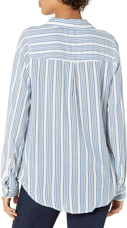 Lucky Brand Women's Long Sleeve Button Up One Pocket Stripe Classic Shirt