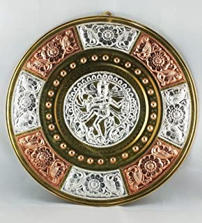 "JLine Arts Nataraja 10"" Thanjavur Art Plate Metal Art with Wall Hanging"