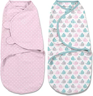 SwaddleMe Original Swaddle 2-pk - Pink Polka, Small (0-3 Months, 7-14 Lb, or up to 26-inches), Whales Pink/Stars