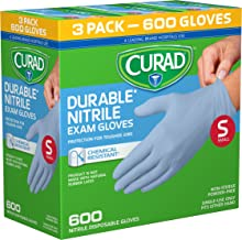 CURAD Disposable Nitrile Exam Gloves, Small, Blue, (600 Count)