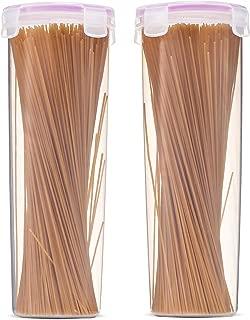 Komax Biokips Tall Food Storage Spaghetti Noodle Pasta Container (44-oz) | Set-of-2 Pasta Storage Containers | Airtight Spaghetti Container Storage With Locking Lids | BPA-Free & Dishwasher Safe