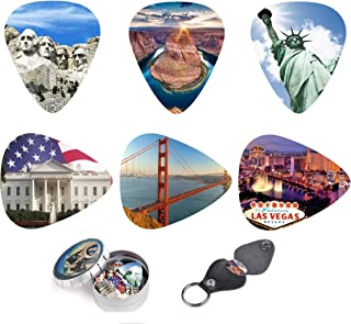 Unique Guitar Picks USA National Landmarks,Premium Gift Set Of 12 Medium Celluloid Picks| Complete W/Sleek Tin Box, Leather Key chain Pick Holder.