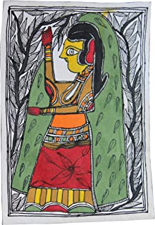 Framed Handpainted Women with Colorful Indian Dress Madhubani Painting Paper Depicting Stories from India Folklore Made by Artist of Bihar with History Which Dates Back from The Days of Ramayana