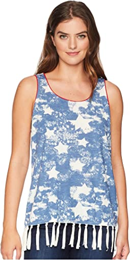 Sleeveless Top with Start Print and Fringe