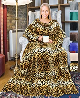 Leopard Wearable Fleece Blanket with Sleeves for Adult Women Men, Super Soft Comfy Plush TV Blanket Throw Wrap Cover for Lounge Couch Reading Watching TV 73